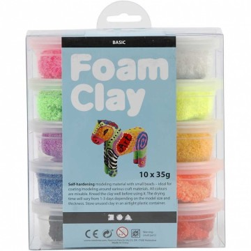 Foam Clay®, kleuren assorti, basis, 10x35gr